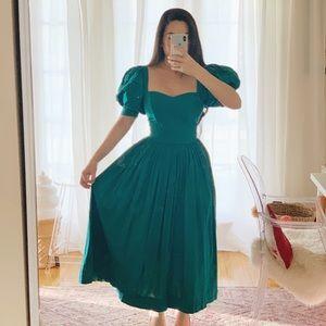 Vintage Laura Ashley teal puffed sleeve dress
